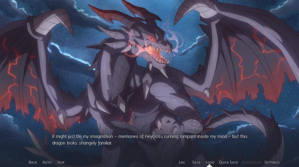 Screen d'un jeu avec un énorme dragon noir et rouge