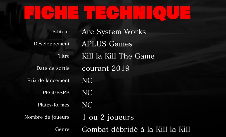 Kill la  kill the game fiche technique