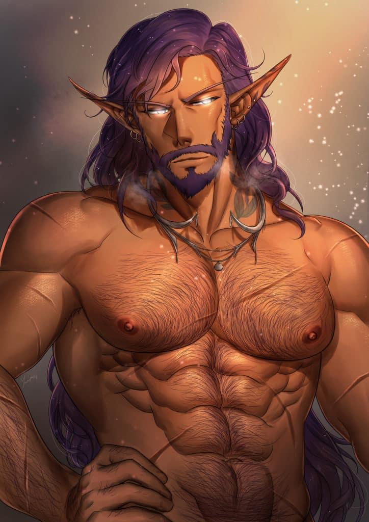 Elfe homme musclé et poilus ecchi
