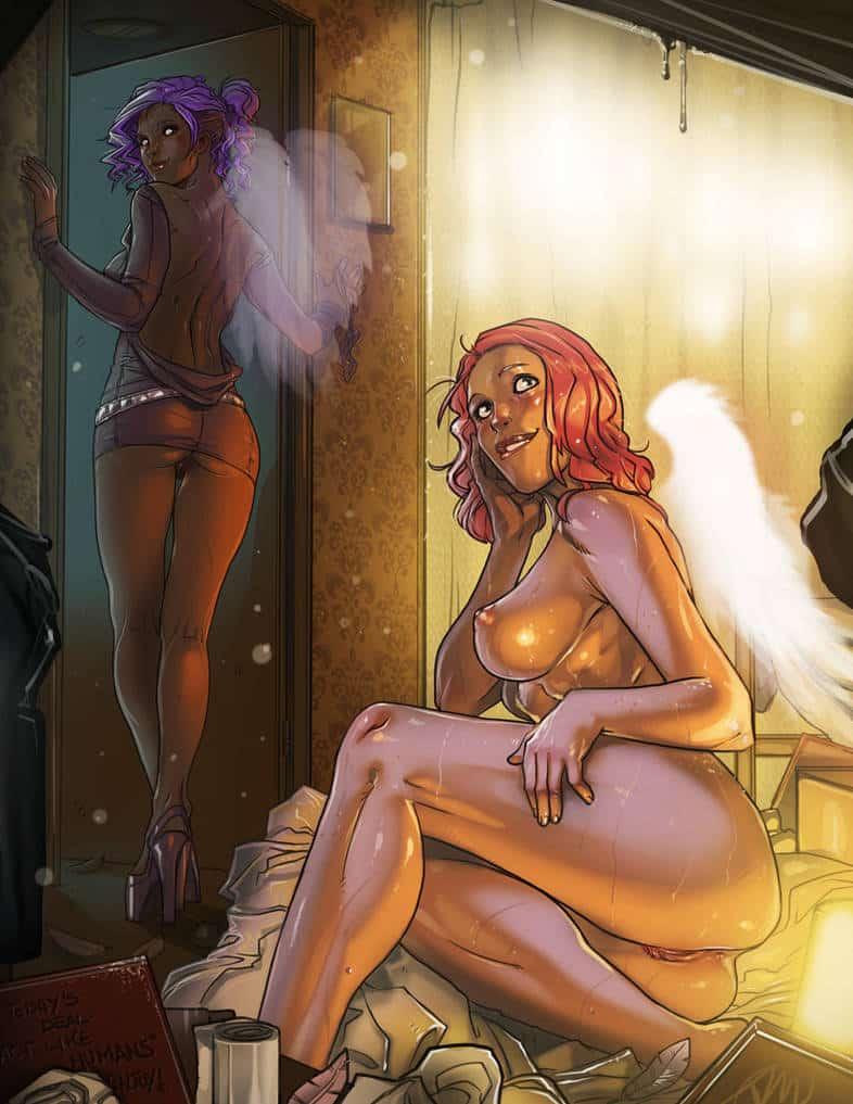 Cecilia et Minerva , deux filles nues avec des ailes d'anges pin'ups ecchi hentai