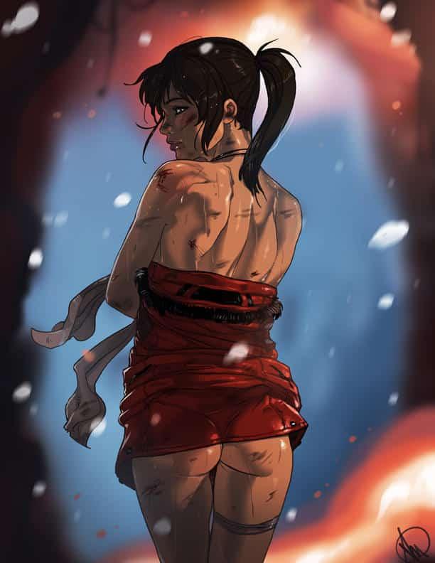 Fille brune vue de dos avec une serviette rouge a la taille , les fesses à l'air ecchi hentai