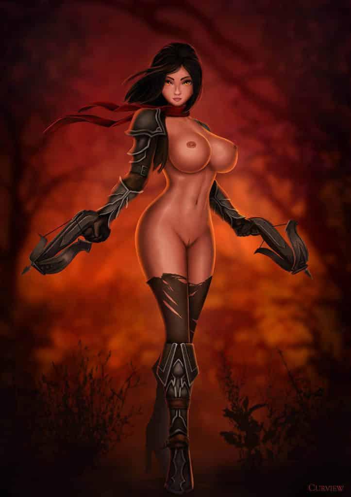 Chasseuse de démon nue sexy, parodie hentai ecchi