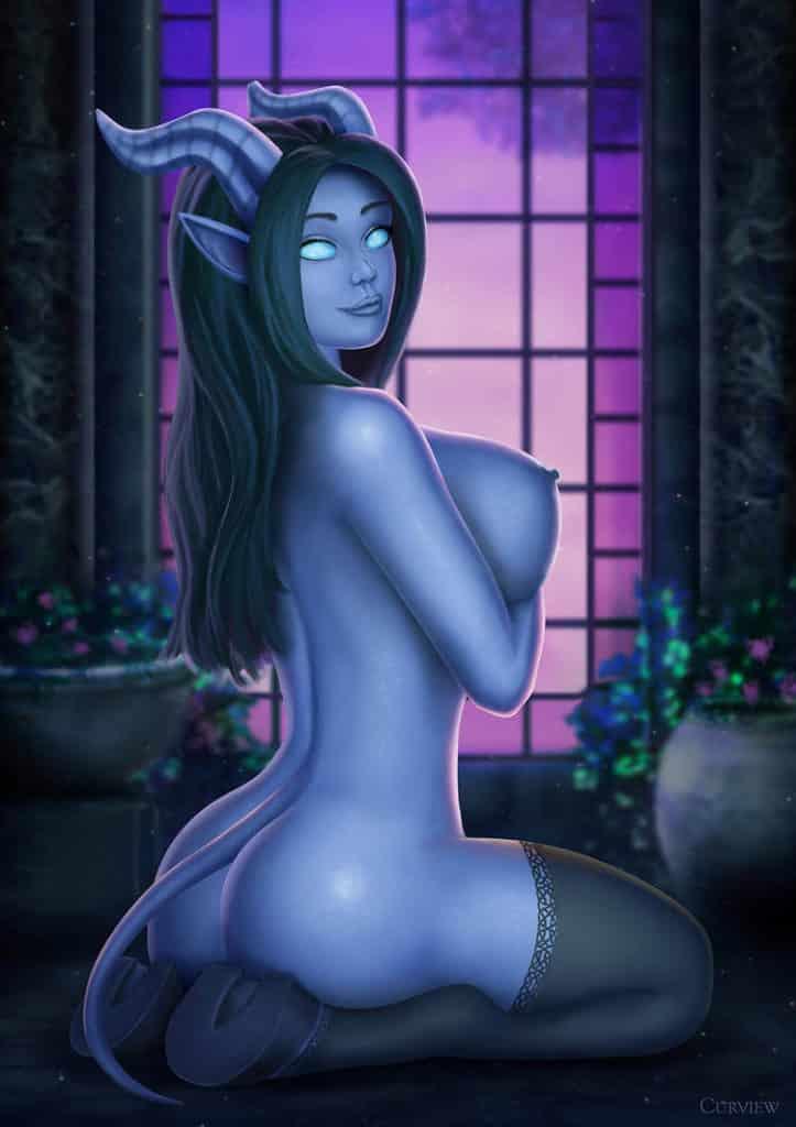 Draenei parodie sexy nude, de dos la tête tournée vers nous se tenant les seins, parodie hentai ecchi