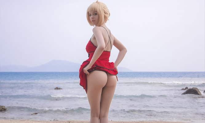 Disharmonica, erocosplay, cosplay porn Saber nero summer hentai