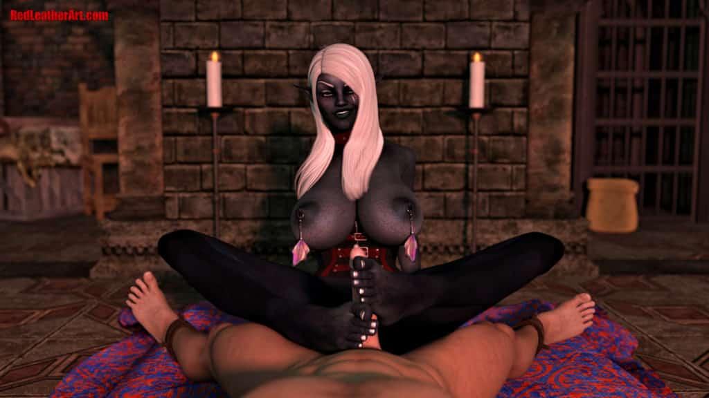 Une elfe noire branle un homme avec ses pieds hentai 3D