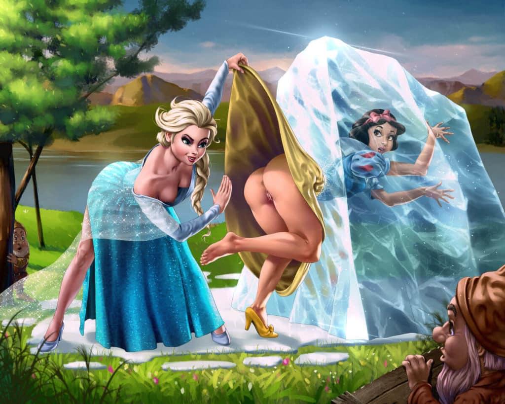 Elsa donne la fessée à blanche neige, parodie hentai disney